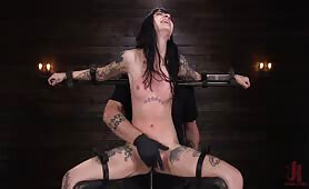 Tattooed Slut in Device Bondage and Tormented