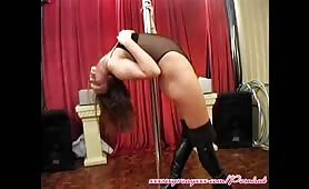 Wife strips on Pole for Hubby at swingers club